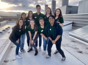 The Engineering Student Ambassadors atop the roof of Scott Bioengineering