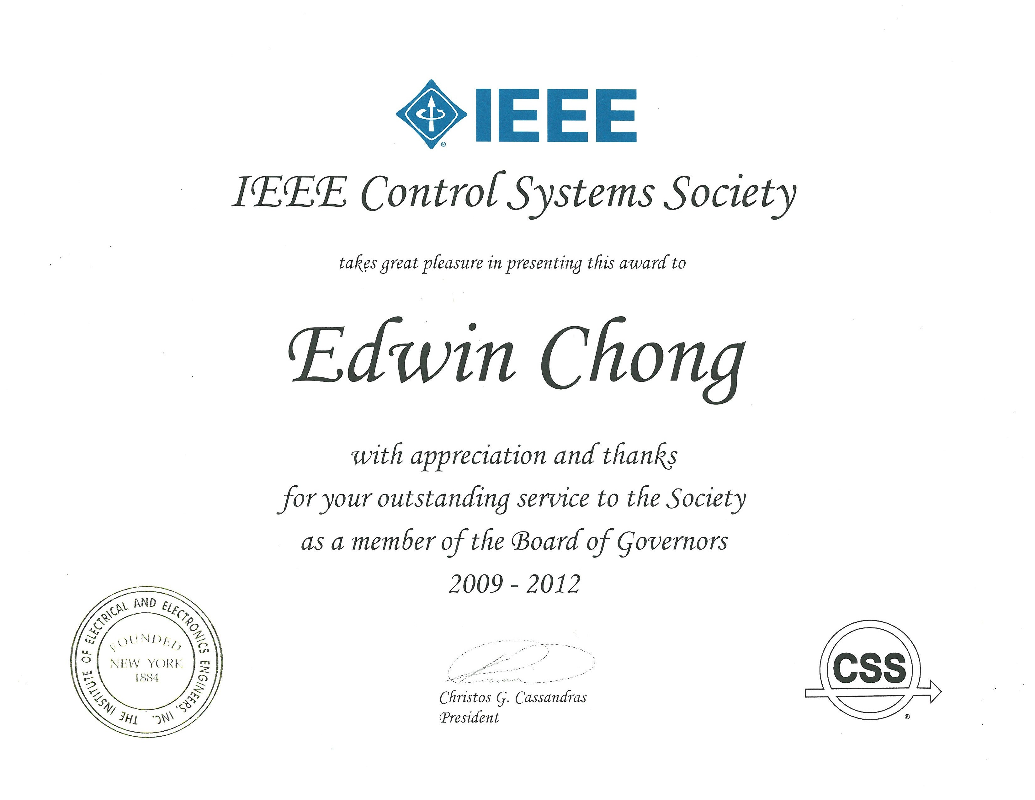 Selected awards and honors of edwin chong elected xflitez Images