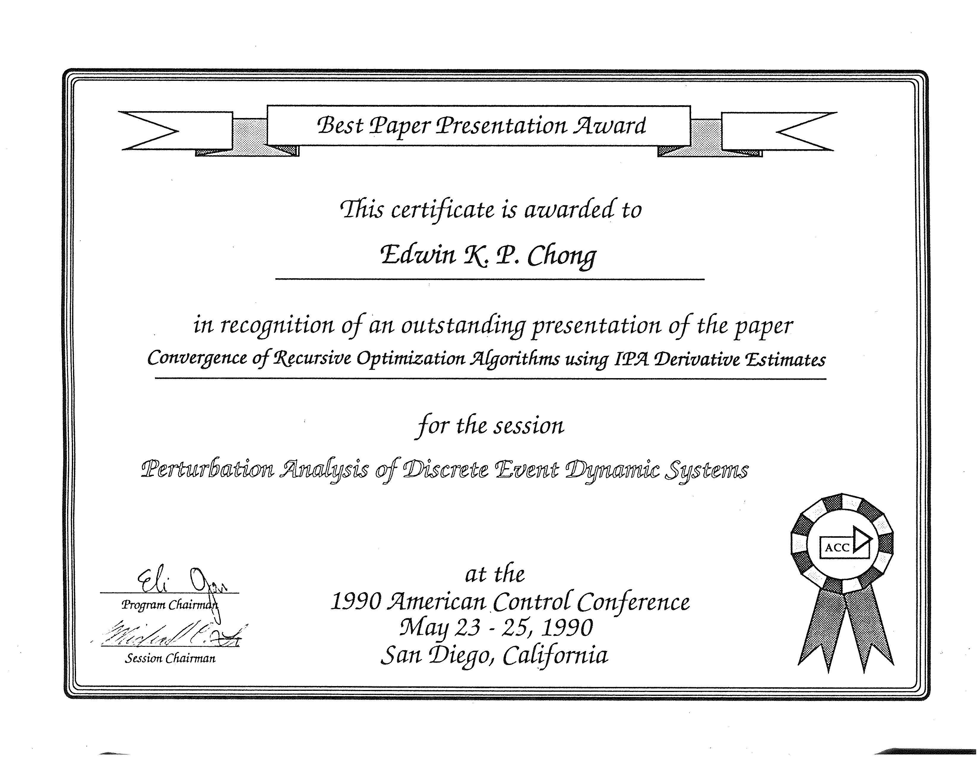 selected awards and honors of edwin chong